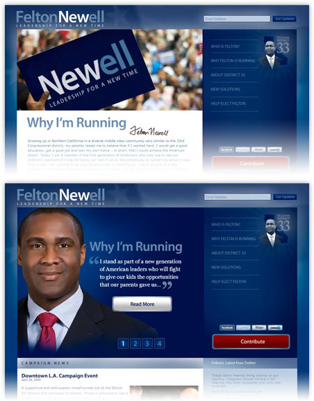 screenshots: political campaign web site
