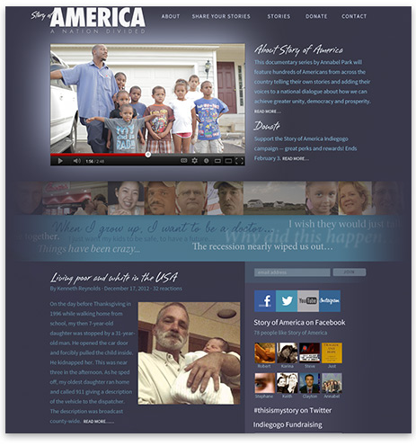 Story of America web site home page